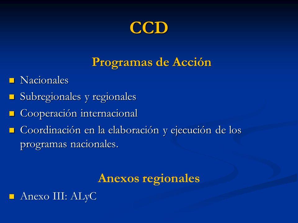 CCD Programas de Acción Nacionales Nacionales Subregionales y regionales Subregionales y regionales Cooperación internacional Cooperación internaciona