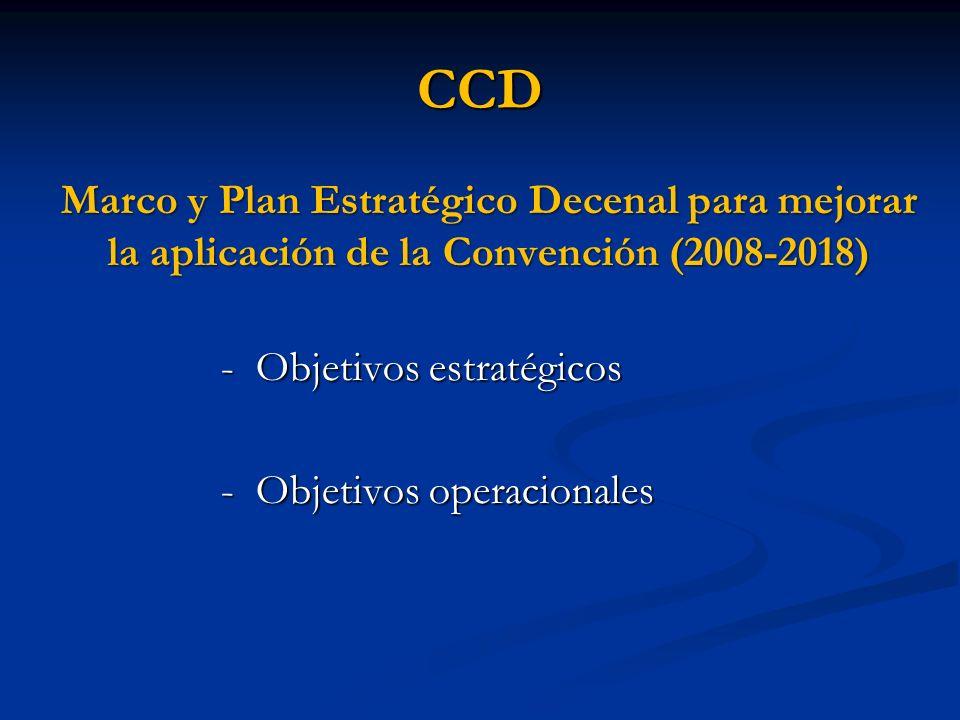 CCD Marco y Plan Estratégico Decenal para mejorar la aplicación de la Convención (2008-2018) - Objetivos estratégicos - Objetivos operacionales