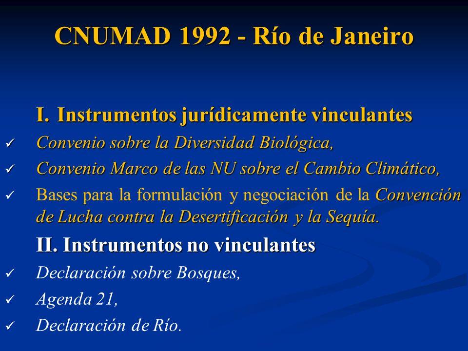 CNUMAD 1992 - Río de Janeiro I. Instrumentos jurídicamente vinculantes Convenio sobre la Diversidad Biológica, Convenio sobre la Diversidad Biológica,