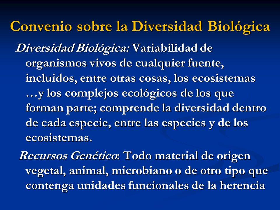 Convenio sobre la Diversidad Biológica Diversidad Biológica: Variabilidad de organismos vivos de cualquier fuente, incluidos, entre otras cosas, los e
