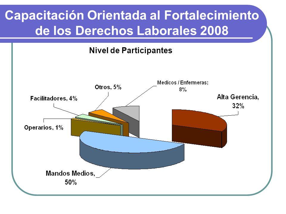 Capacitación Orientada al Fortalecimiento de los Derechos Laborales 2008 Nivel de Participantes