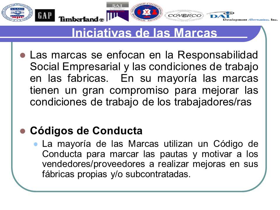 Iniciativas de las Marcas Las marcas se enfocan en la Responsabilidad Social Empresarial y las condiciones de trabajo en las fabricas. En su mayoría l