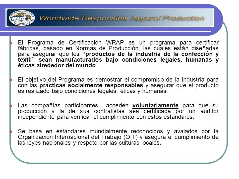 El Programa de Certificación WRAP es un programa para certificar fábricas, basado en Normas de Producción, las cuales están diseñadas para asegurar qu