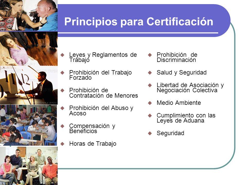 Principios para Certificación Prohibición de Discriminación Salud y Seguridad Libertad de Asociación y Negociación Colectiva Medio Ambiente Cumplimien