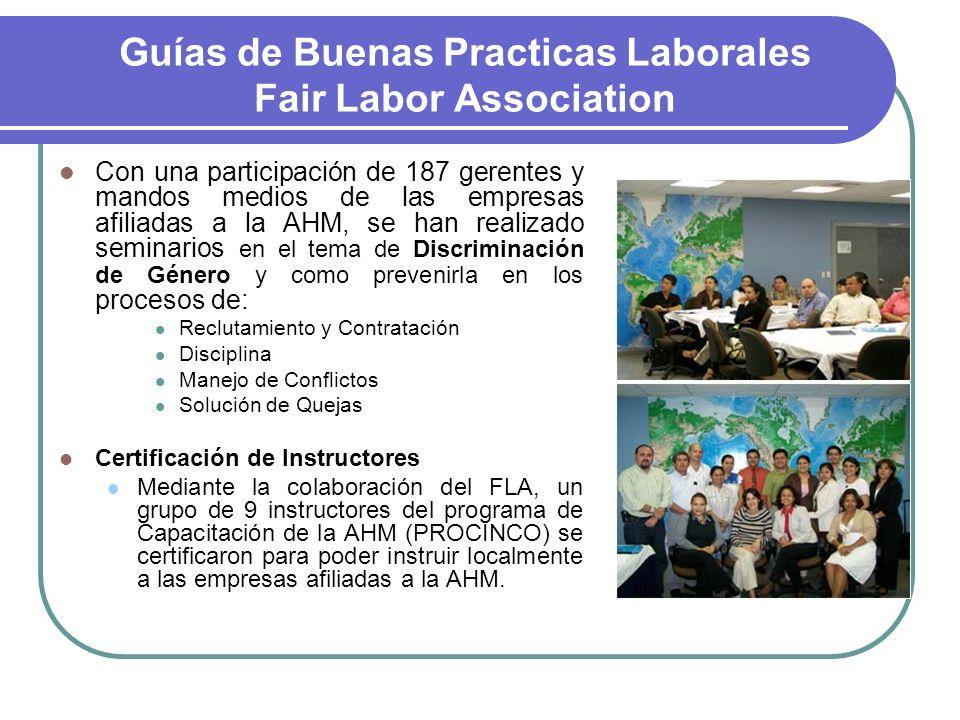 Guías de Buenas Practicas Laborales Fair Labor Association Con una participación de 187 gerentes y mandos medios de las empresas afiliadas a la AHM, s