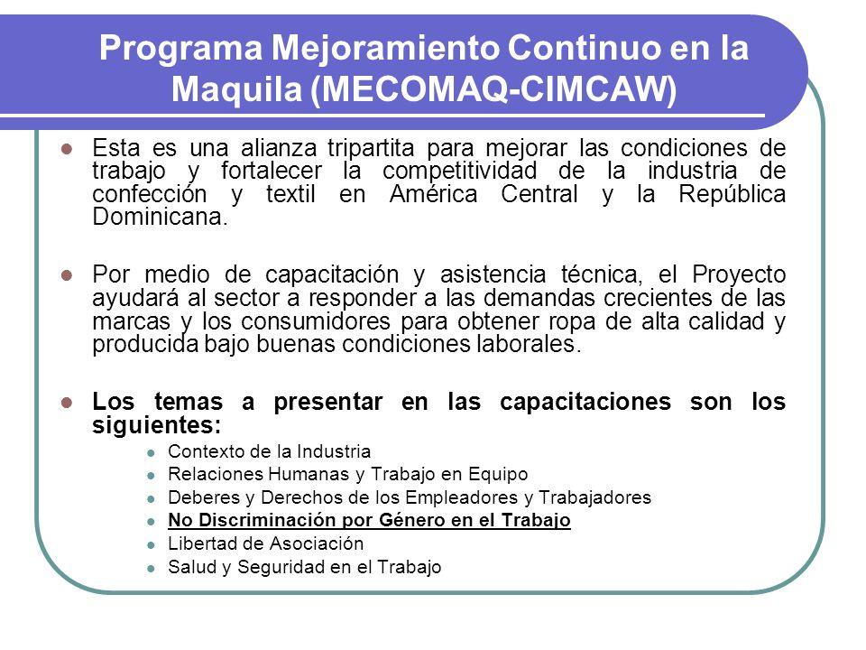 Programa Mejoramiento Continuo en la Maquila (MECOMAQ-CIMCAW) Esta es una alianza tripartita para mejorar las condiciones de trabajo y fortalecer la c