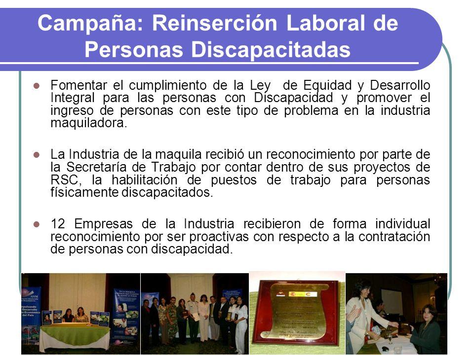 Campaña: Reinserción Laboral de Personas Discapacitadas Fomentar el cumplimiento de la Ley de Equidad y Desarrollo Integral para las personas con Disc