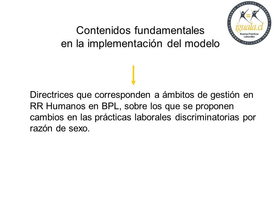 Contenidos fundamentales en la implementación del modelo Directrices que corresponden a ámbitos de gestión en RR Humanos en BPL, sobre los que se prop