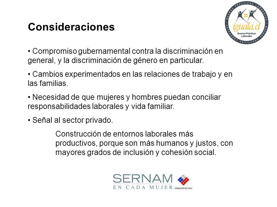 Consideraciones Compromiso gubernamental contra la discriminación en general, y la discriminación de género en particular. Cambios experimentados en l