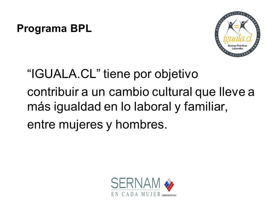 Programa BPL IGUALA.CL tiene por objetivo contribuir a un cambio cultural que lleve a más igualdad en lo laboral y familiar, entre mujeres y hombres.