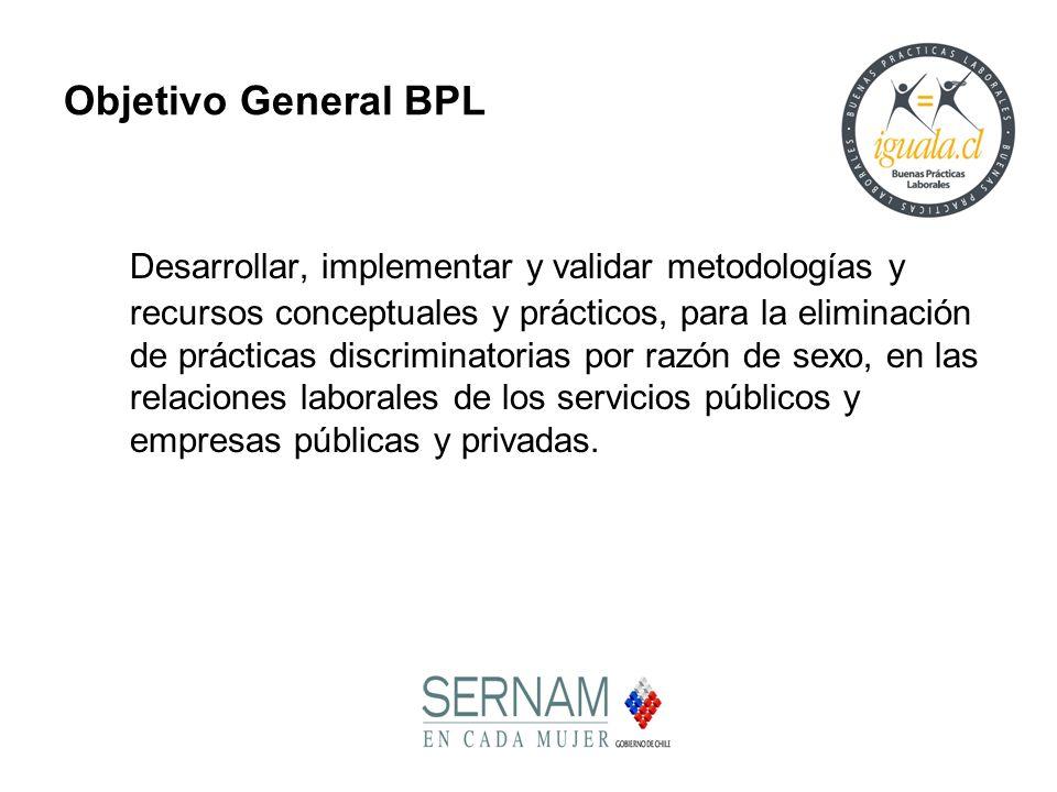 Objetivo General BPL Desarrollar, implementar y validar metodologías y recursos conceptuales y prácticos, para la eliminación de prácticas discriminat