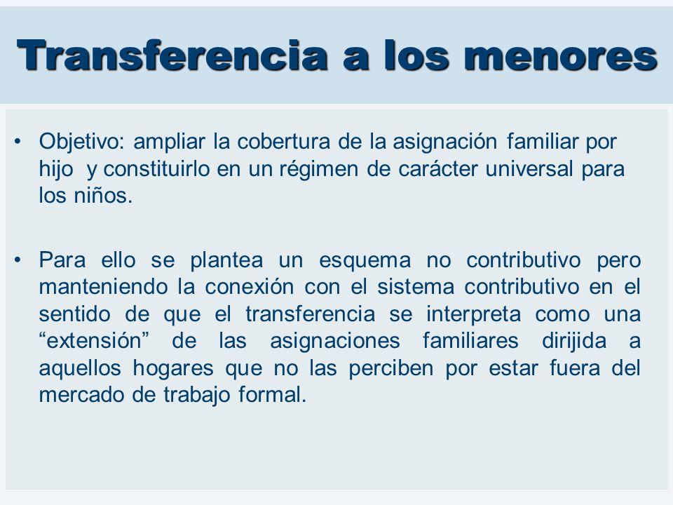 Transferencia a los menores Objetivo: ampliar la cobertura de la asignación familiar por hijo y constituirlo en un régimen de carácter universal para