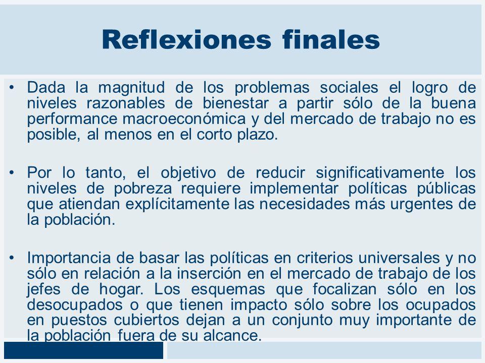 Reflexiones finales Dada la magnitud de los problemas sociales el logro de niveles razonables de bienestar a partir sólo de la buena performance macro