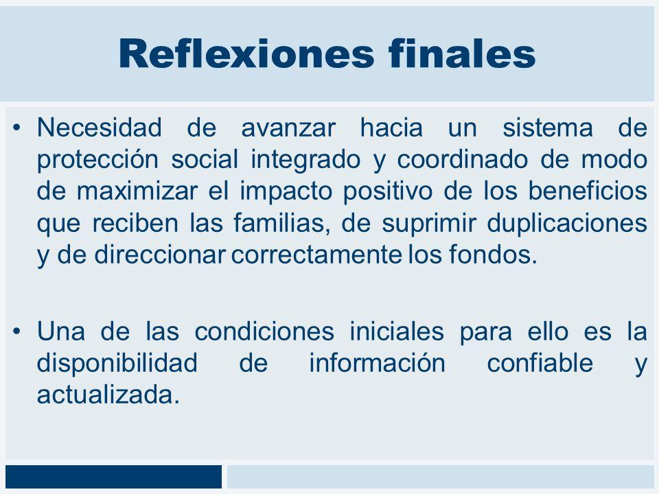 Reflexiones finales Necesidad de avanzar hacia un sistema de protección social integrado y coordinado de modo de maximizar el impacto positivo de los
