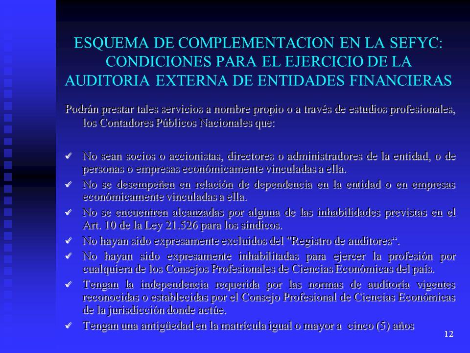 12 ESQUEMA DE COMPLEMENTACION EN LA SEFYC: CONDICIONES PARA EL EJERCICIO DE LA AUDITORIA EXTERNA DE ENTIDADES FINANCIERAS Podrán prestar tales servici