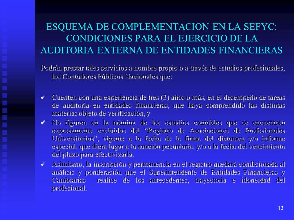 13 ESQUEMA DE COMPLEMENTACION EN LA SEFYC: CONDICIONES PARA EL EJERCICIO DE LA AUDITORIA EXTERNA DE ENTIDADES FINANCIERAS Podrán prestar tales servici