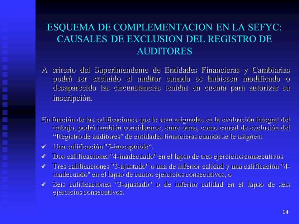 14 ESQUEMA DE COMPLEMENTACION EN LA SEFYC: CAUSALES DE EXCLUSION DEL REGISTRO DE AUDITORES A criterio del Superintendente de Entidades Financieras y C