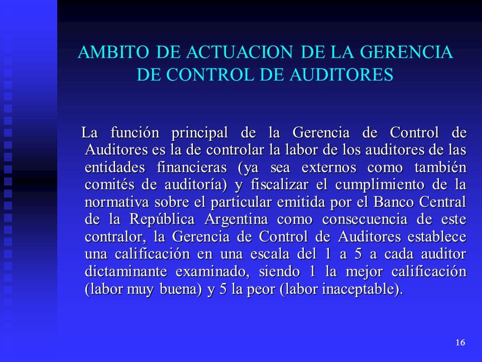 16 AMBITO DE ACTUACION DE LA GERENCIA DE CONTROL DE AUDITORES La función principal de la Gerencia de Control de Auditores es la de controlar la labor