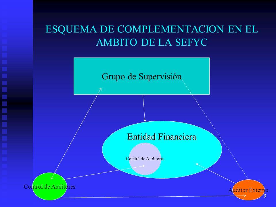 4 SUPERVISOR BANCARIO Y AUDITOR EXTERNO EN EL AMBITO DE LA SEFYC El supervisor bancario realiza los controles on- site y off -site en las entidades financieras que están bajo la órbita de su control.