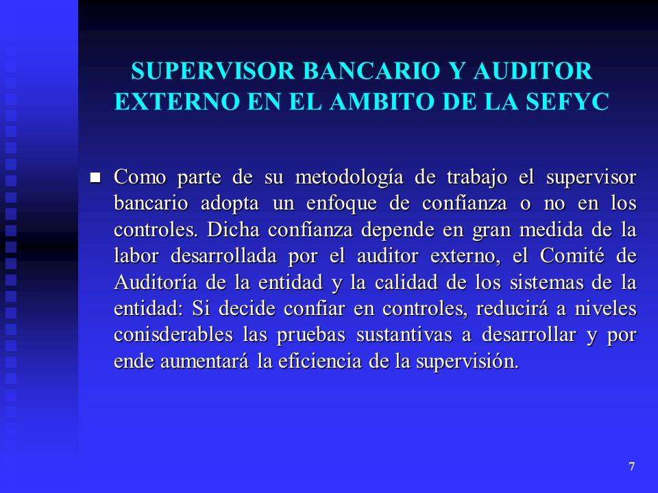 7 SUPERVISOR BANCARIO Y AUDITOR EXTERNO EN EL AMBITO DE LA SEFYC Como parte de su metodología de trabajo el supervisor bancario adopta un enfoque de c