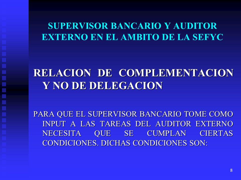 9 ESQUEMA DE COMPLEMENTACION EN EL AMBITO DE LA SEFYC Que el auditor externo se halle inscripto en el Registro de Auditores del Banco Central de la República Argentina.
