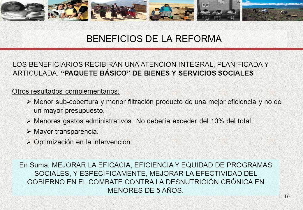 16 BENEFICIOS DE LA REFORMA Otros resultados complementarios: Menor sub-cobertura y menor filtración producto de una mejor eficiencia y no de un mayor