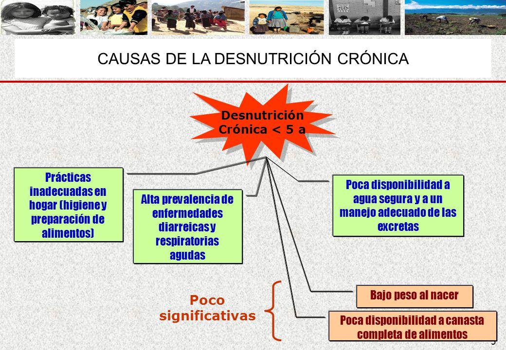 5 Desnutrición Crónica < 5 a Desnutrición Crónica < 5 a Poca disponibilidad a agua segura y a un manejo adecuado de las excretas Prácticas inadecuadas
