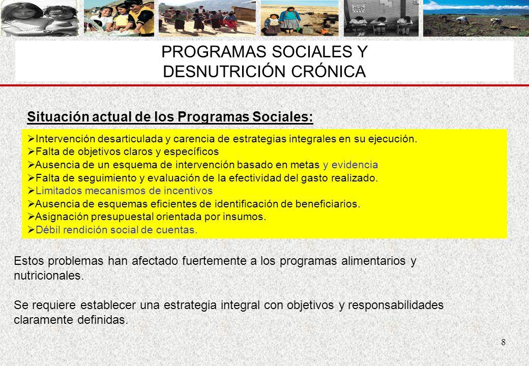 8 PROGRAMAS SOCIALES Y DESNUTRICIÓN CRÓNICA Intervención desarticulada y carencia de estrategias integrales en su ejecución. Falta de objetivos claros