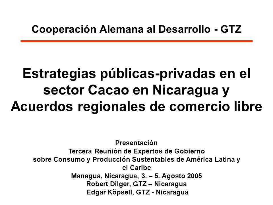 Cooperación Alemana al Desarrollo - GTZ Estrategias públicas-privadas en el sector Cacao en Nicaragua y Acuerdos regionales de comercio libre Presenta