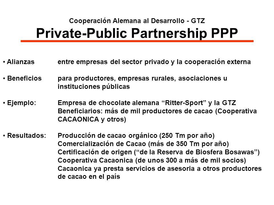 Cooperación Alemana al Desarrollo - GTZ Private-Public Partnership PPP Alianzas entre empresas del sector privado y la cooperación externa Beneficios