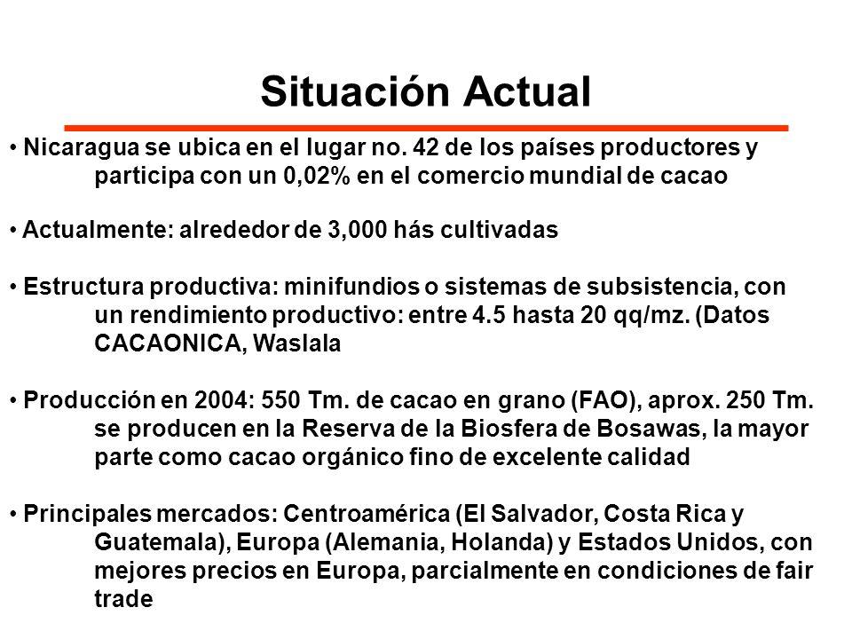 Situación Actual Nicaragua se ubica en el lugar no. 42 de los países productores y participa con un 0,02% en el comercio mundial de cacao Actualmente: