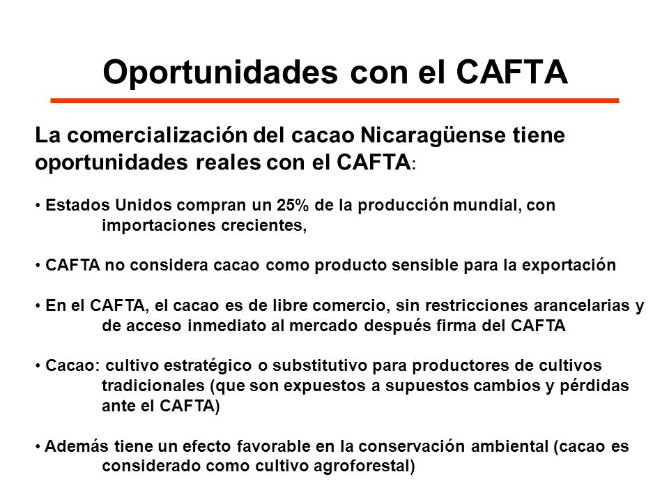 Oportunidades con el CAFTA La comercialización del cacao Nicaragüense tiene oportunidades reales con el CAFTA : Estados Unidos compran un 25% de la pr