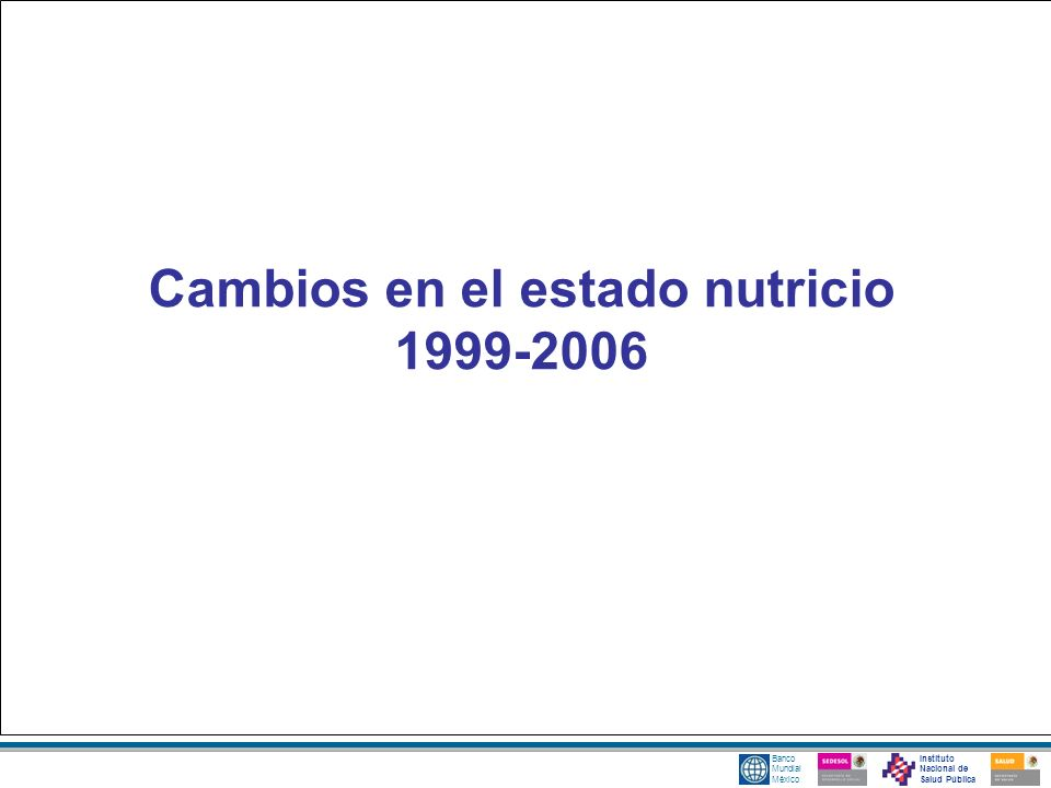 Instituto Nacional de Salud Pública Banco Mundial México Cambios en el estado nutricio 1999-2006