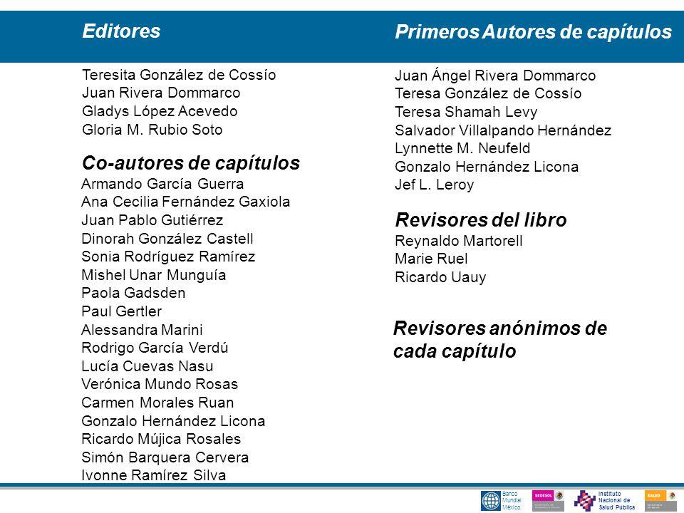 Instituto Nacional de Salud Pública Banco Mundial México Editores Teresita González de Cossío Juan Rivera Dommarco Gladys López Acevedo Gloria M. Rubi