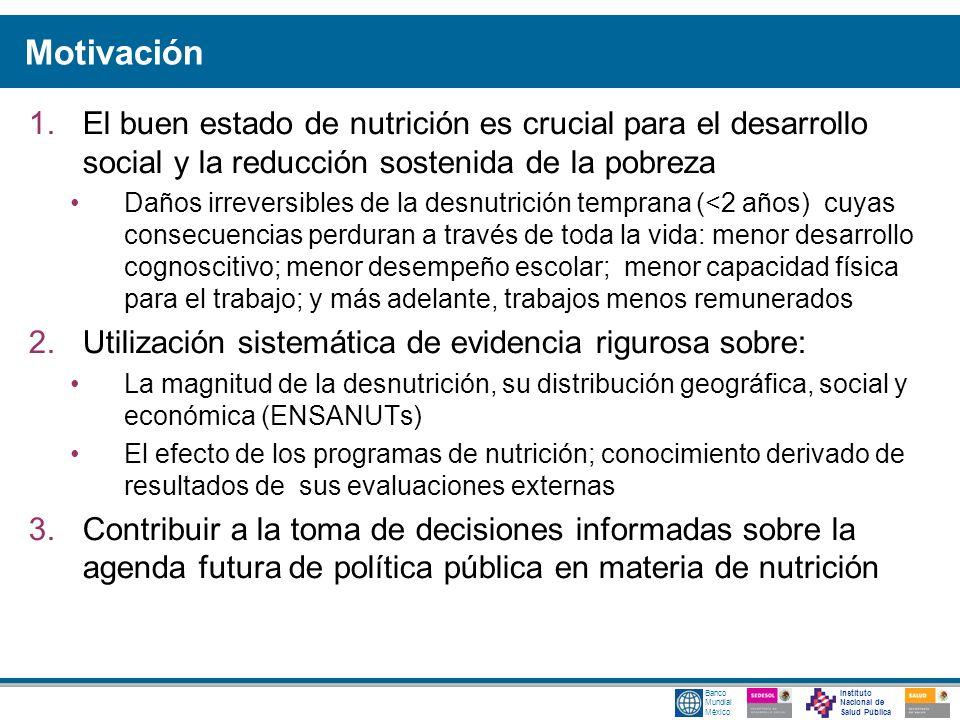 Instituto Nacional de Salud Pública Banco Mundial México Motivación 1.El buen estado de nutrición es crucial para el desarrollo social y la reducción