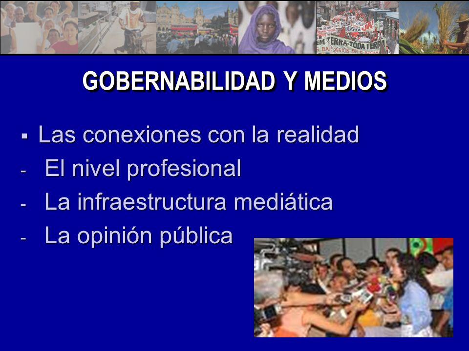 GOBERNABILIDAD Y MEDIOS Las conexiones con la realidad Las conexiones con la realidad - El nivel profesional - La infraestructura mediática - La opinión pública
