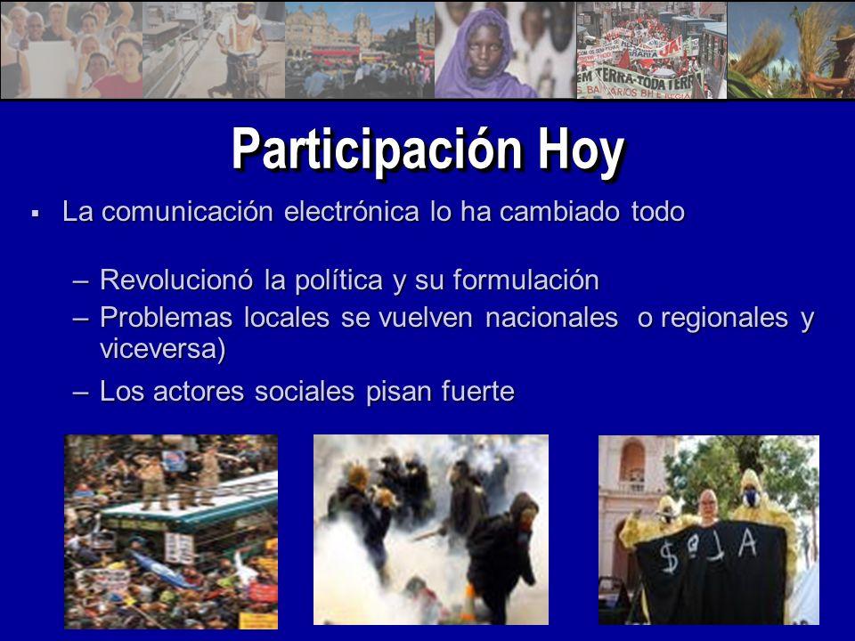Participación Hoy La comunicación electrónica lo ha cambiado todo La comunicación electrónica lo ha cambiado todo –Revolucionó la política y su formulación –Problemas locales se vuelven nacionales o regionales y viceversa) –Los actores sociales pisan fuerte