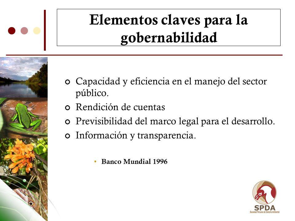 Elementos claves para la gobernabilidad Capacidad y eficiencia en el manejo del sector público. Rendición de cuentas Previsibilidad del marco legal pa