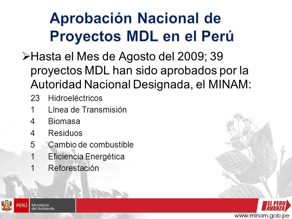 Hasta el Mes de Agosto del 2009; 39 proyectos MDL han sido aprobados por la Autoridad Nacional Designada, el MINAM: 23Hidroeléctricos 1 Línea de Trans