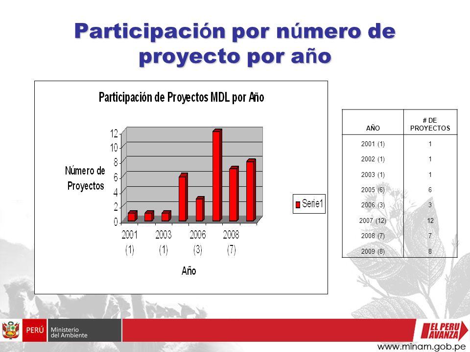 Participaci ó n por n ú mero de proyecto por a ñ o AÑO # DE PROYECTOS 2001 (1)1 2002 (1)1 2003 (1)1 2005 (6)6 2006 (3)3 2007 (12)12 2008 (7)7 2009 (8)