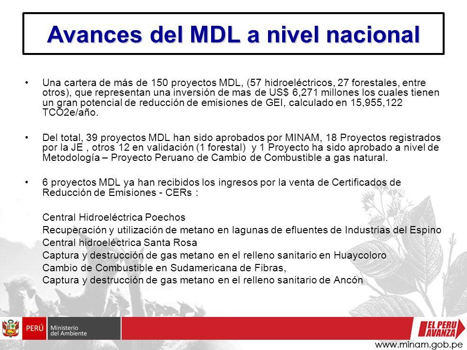 Avances del MDL a nivel nacional Una cartera de más de 150 proyectos MDL, (57 hidroeléctricos, 27 forestales, entre otros), que representan una invers