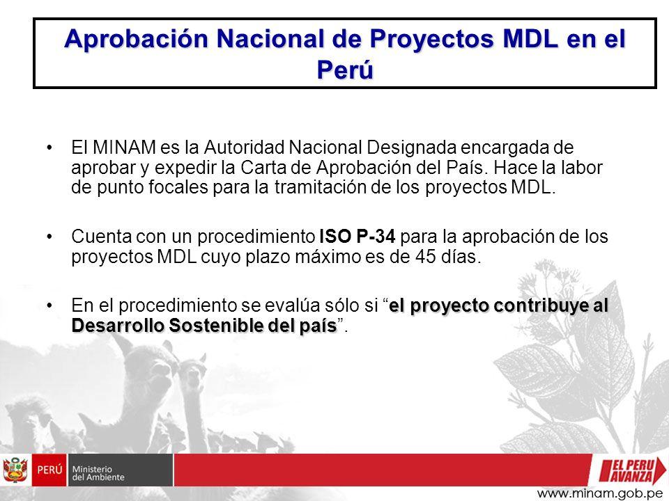 Aprobación Nacional de Proyectos MDL en el Perú El MINAM es la Autoridad Nacional Designada encargada de aprobar y expedir la Carta de Aprobación del