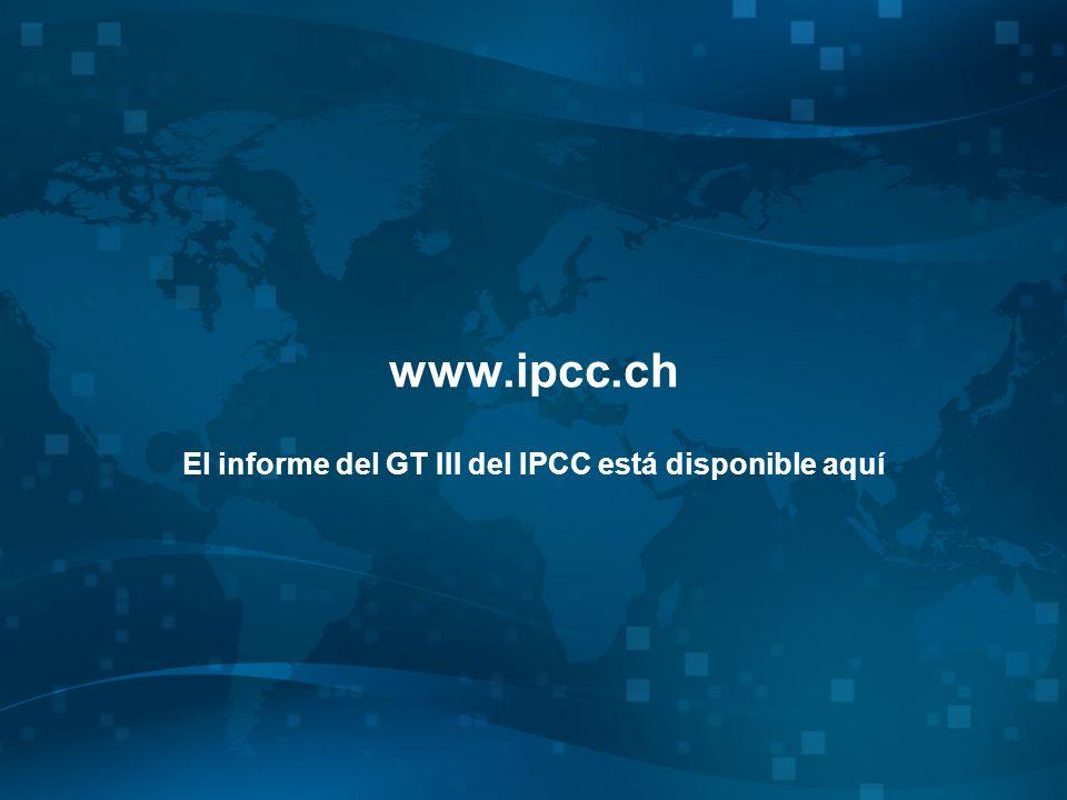 www.ipcc.ch El informe del GT III del IPCC está disponible aquí