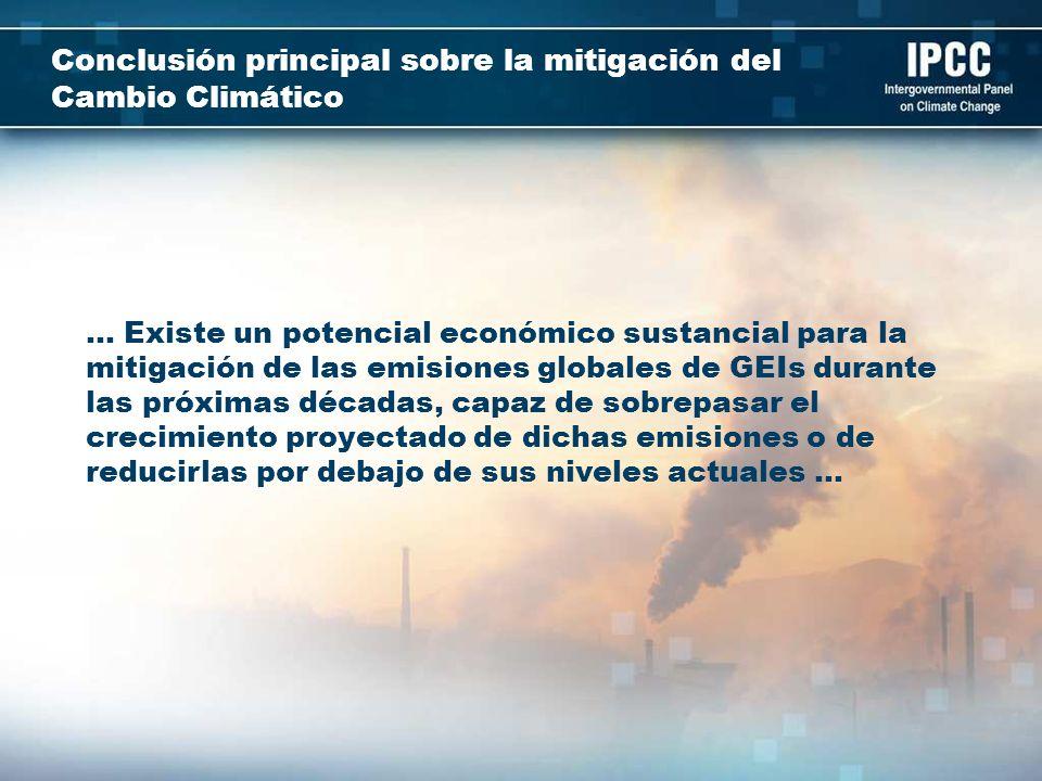 Conclusión principal sobre la mitigación del Cambio Climático … Existe un potencial económico sustancial para la mitigación de las emisiones globales