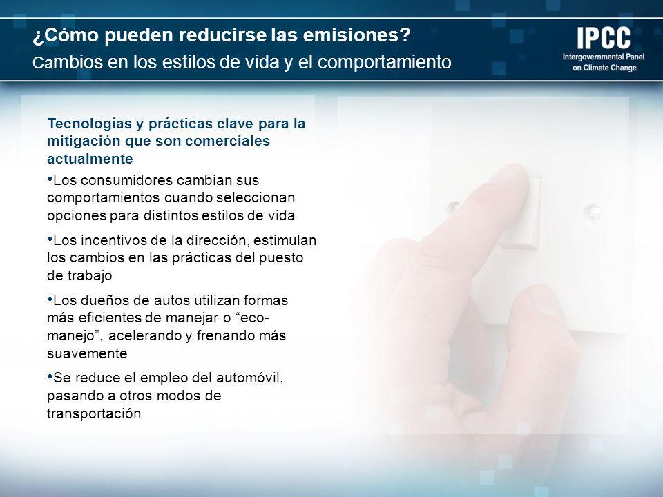 Una señal efectiva de precios del Carbono pudiera materializar un potencial de mitigación significativo en todos los sectores Políticas tales como la regulación, que restringe la cantidad de emisiones producidas y los instrumentos económicos, tales como el impuesto al Carbono o la asignación de los permisos transables de emisiones, elevan los costos cuando se emiten los gases de efecto invernadero Los costos adicionales resultantes para las industrias y los consumidores pudieran estimular la inversión en tecnologías no basadas en Carbono Para estabilizarse en alrededor de 550 ppm (partes por millón), los precios del Dióxido de Carbono equivalente debieran alcanzar en el 2030, entre 20 y 80 USD por tonelada de CO2 equivalente A esos precios, pueden esperarse grandes inversiones en tecnologías de bajo Carbono