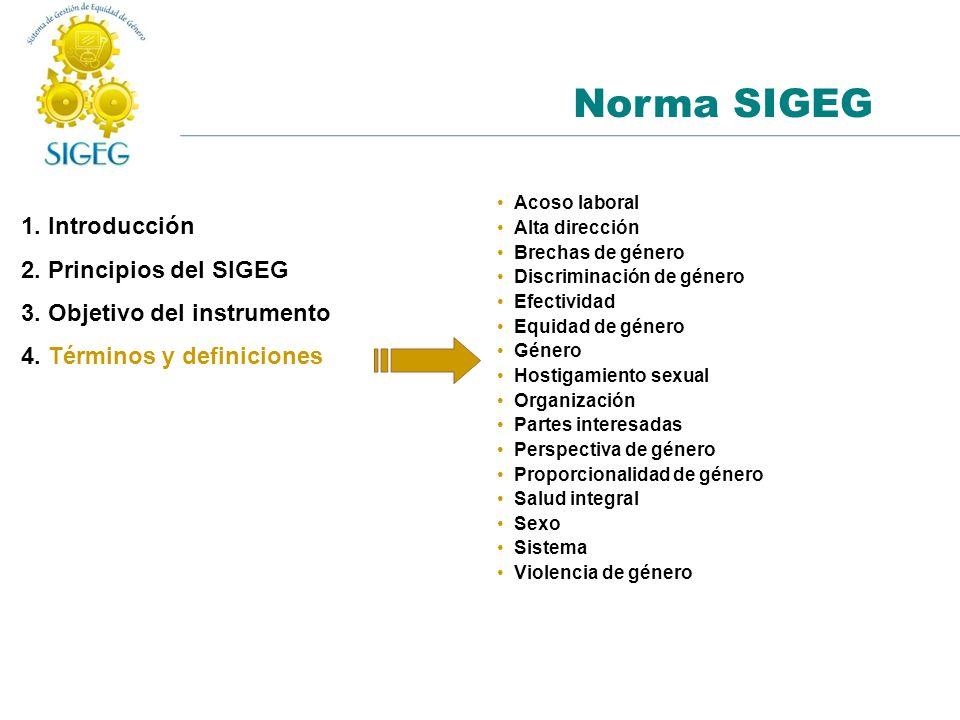 1. Introducción 2. Principios del SIGEG 3. Objetivo del instrumento 4. Términos y definiciones Norma SIGEG Acoso laboral Alta dirección Brechas de gén