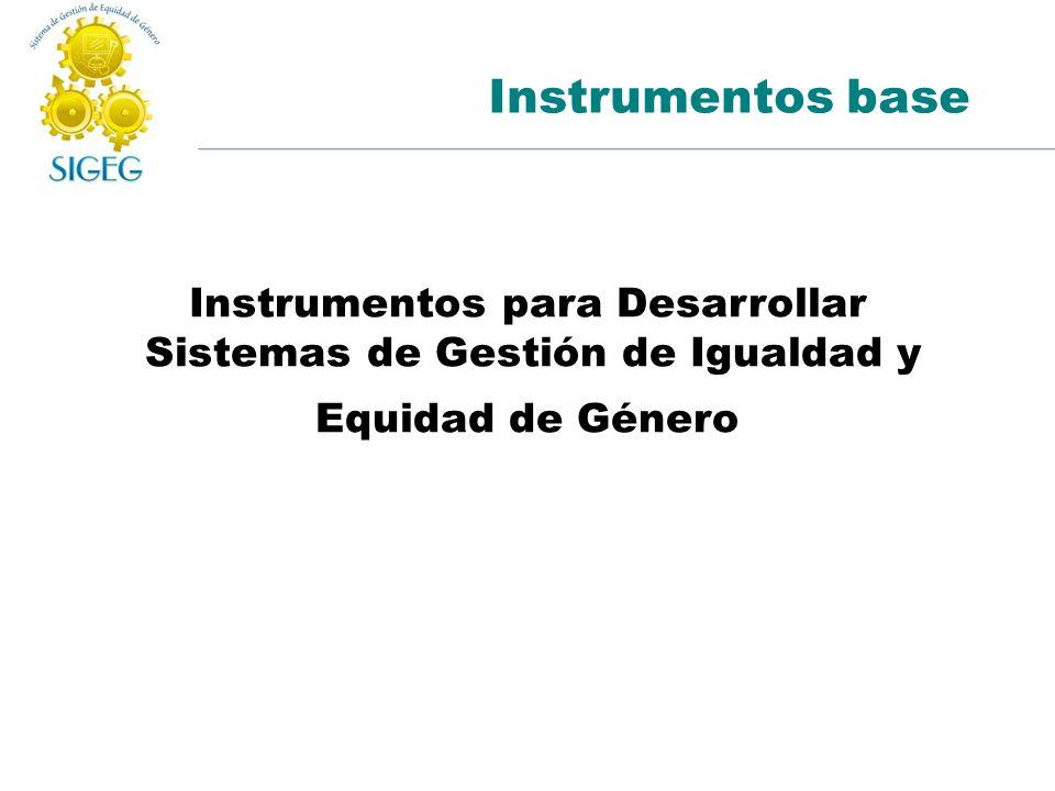 Instrumentos base Instrumentos para Desarrollar Sistemas de Gestión de Igualdad y Equidad de Género