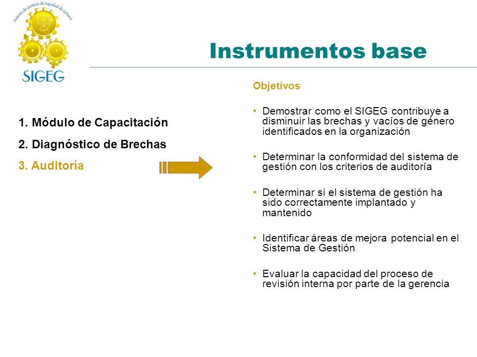Instrumentos base 1. Módulo de Capacitación 2. Diagnóstico de Brechas 3. Auditoría Objetivos Demostrar como el SIGEG contribuye a disminuir las brecha