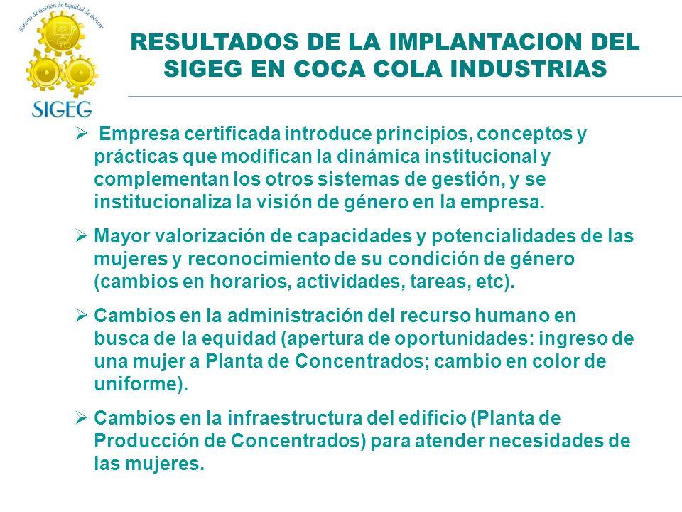 RESULTADOS DE LA IMPLANTACION DEL SIGEG EN COCA COLA INDUSTRIAS Empresa certificada introduce principios, conceptos y prácticas que modifican la dinám