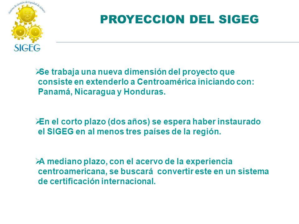 PROYECCION DEL SIGEG Se trabaja una nueva dimensión del proyecto que consiste en extenderlo a Centroamérica iniciando con: Panamá, Nicaragua y Hondura